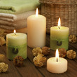 Spa candles with dried flowers