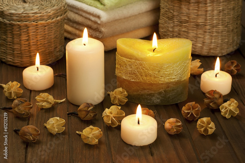 Spa concept with candles still life