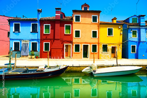Keuken foto achterwand Venetie Venice landmark, Burano island canal, colorful houses and boats,