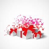 collection of gifts with red bow and ribbons on white background