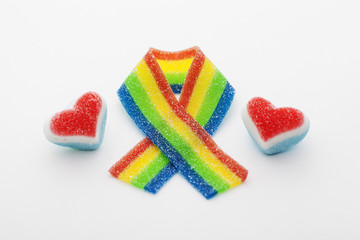 Rainbow ribbon with two hearts made of candy