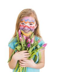 Mädchen mit geschminktem Gesicht, Thema Ostern