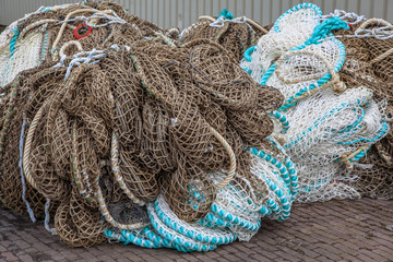 Fishing Nets on the Quay of a Fishing Harbor