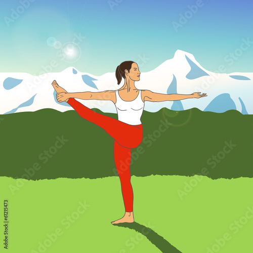 Girl in yoga pose on a background of mountains