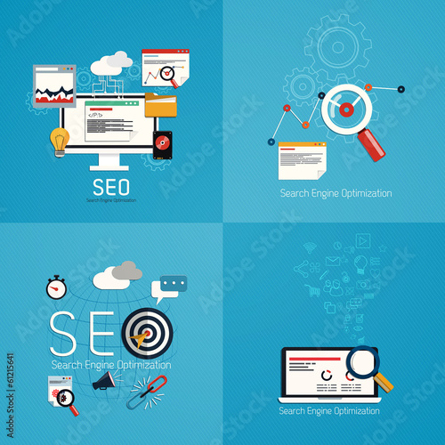 Flat concept of seo process- SEO data analysis. Vector