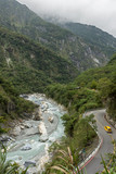 Steep mountains, river and a road at the Taroko National Park
