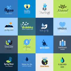 Set of Water icons-cards. Vector