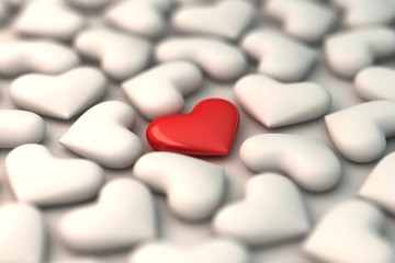 3d red heart on white hearts background