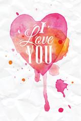 Watercolor Heart lettering