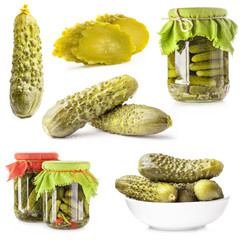 Collections of Pickles (Gherkin) Isolated on white background