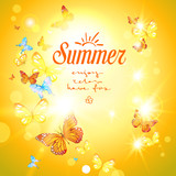 Positive summer background with sunshine and butterflies