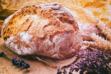Traditional bread in rustic setting