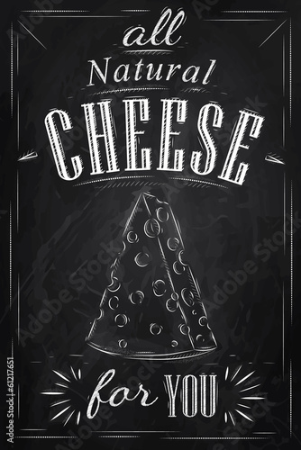 Poster lettering all natural cheese for you drawing with chalk