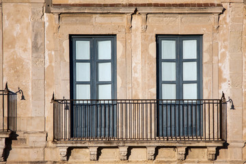 Typical renaissance windows with balcony, Italy