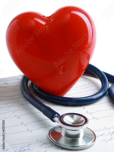 A heart with a stethoscope lying.