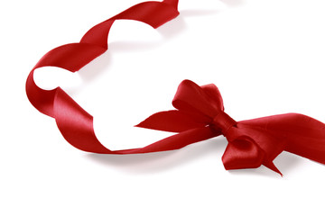 close up of red ribbon.