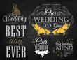 Set Wedding lettering stylized drawing with chalk of gold on the