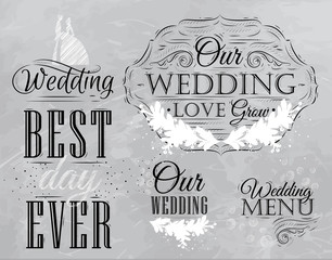 Set Wedding lettering stylized drawing with coal on blackboard.