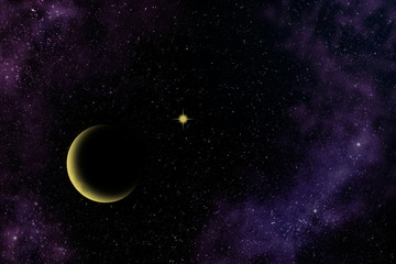 Crescent moon, yellow star and nebula