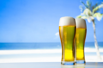 beer glass on a beach