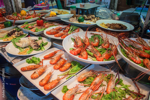 Stall with seafood at Chatuchak market, Bangkok, Thailand