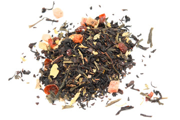 Mix of back and green tea with fruits and flowers, isolated.