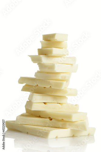 White chocolate on white background