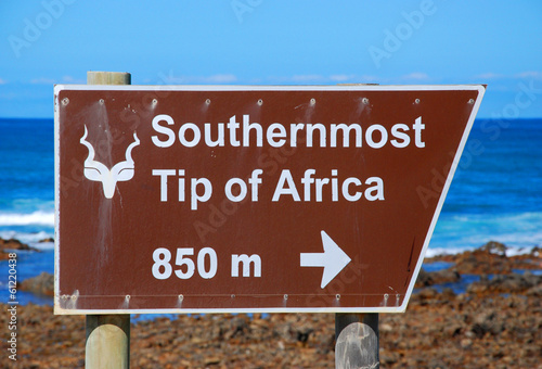 sign of Cape Agulhas (South Africa): The southernmost point of A