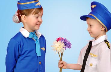 little pilot and stewardess