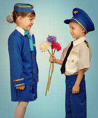 little pilot and stewardess
