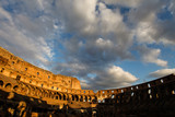 Rome's colosseum inside with rich colours at sunset