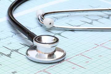 Stethoscope on heartbeat graph