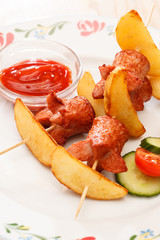 fried sausages with potatoes for kids menu