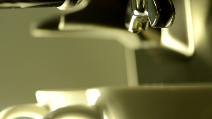 Two shot of Espresso extraction - extreme close-up  High Definit