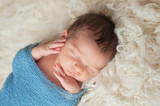 Portrait of a Sleeping Newborn Baby Boy