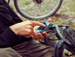 Cyclist searches GPS coordinates