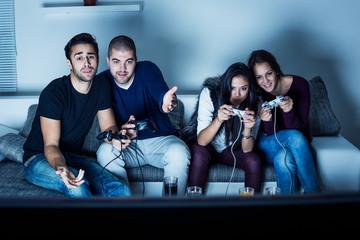 Young people having fun at night