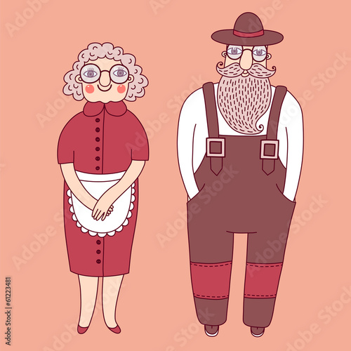 Elderly couple. Grandparents.