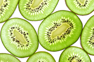 Abstract photo of green kiwi fruit  kiwi fruit isolated on white
