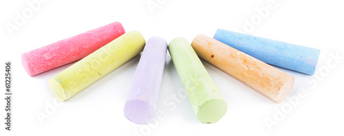 Chalks in variety of colors, isolated on white