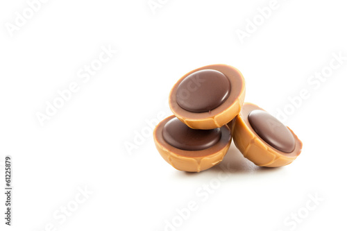 Caramel candies with nougat cream