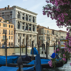 Venice, Italy. View of the piers for gondolas