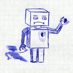 Robot with broken heart. Children's drawing in a school notebook