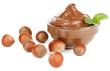 Sweet chocolate hazelnut spread with whole nuts and mint