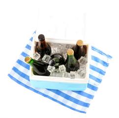 Ice chest full of drinks in bottles