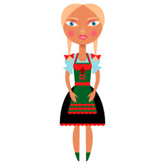 The girl in bavarian dress on a white background.