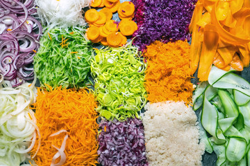 Different kinds of colourful grated salads