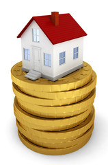 House on stack of golden coins