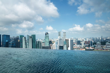 Infinity swimming pool of the Marina Bay Sands in Singapore.