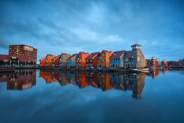 colorful buildings on water in Holland